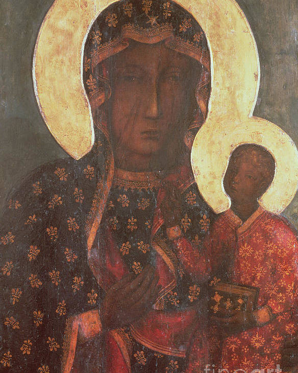 The Poster featuring the painting The Black Madonna Of Jasna Gora by Russian School