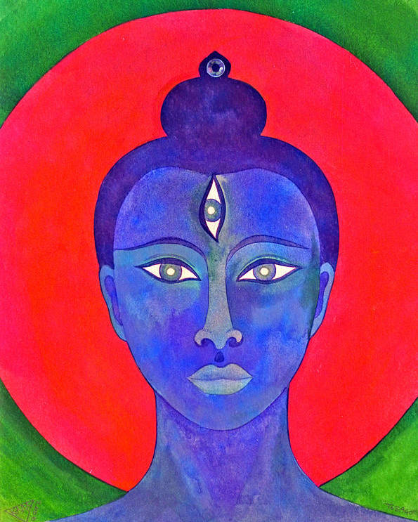Head Of Meditation Buddha Poster featuring the painting The Blue Buddha by Jennifer Baird