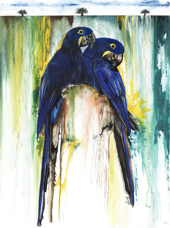 Animals Poster featuring the mixed media The Blue Parrots by Anthony Burks Sr