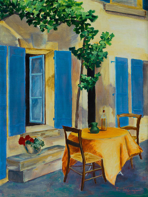 Blue Shutters Poster featuring the painting The Blue Shutters by Elise Palmigiani