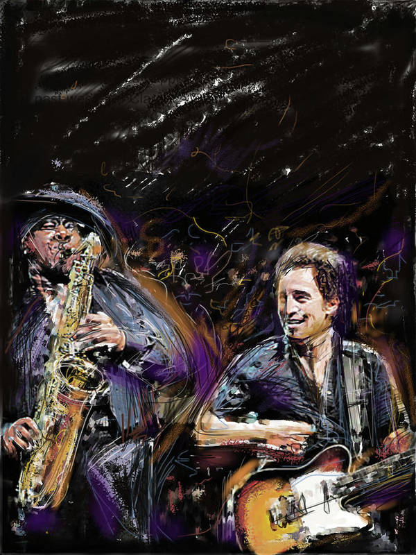 Bruce Springsteen Poster featuring the mixed media The Boss and the Big Man by Russell Pierce