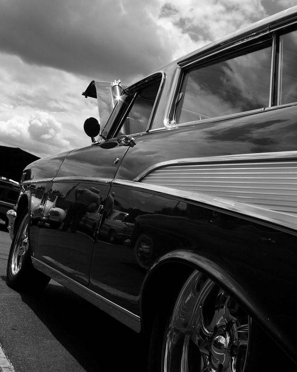 Antique Car In Black And White On Canvas. Framed Photo. Antique Car Printed On A Metal Plate. Poster featuring the digital art The Bowtie by Steve Godleski