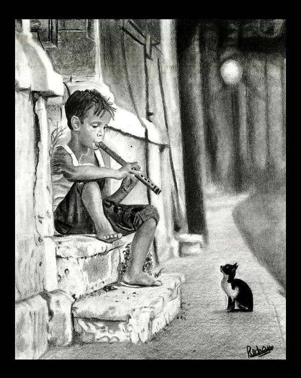 Boy And The Cat Poster featuring the drawing The Boy The Cat And A Flute by Rohan Abhijith Ramanuja
