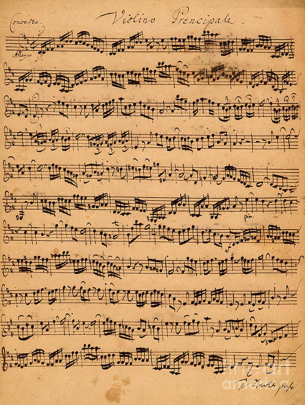Music; Musician; Score; Composition; Composer; Classical Music; Baroque; Notes; Note; Notation; Handwritten; Manuscript; Handwriting; First Violin Poster featuring the drawing The Brandenburger Concertos by Johann Sebastian Bach