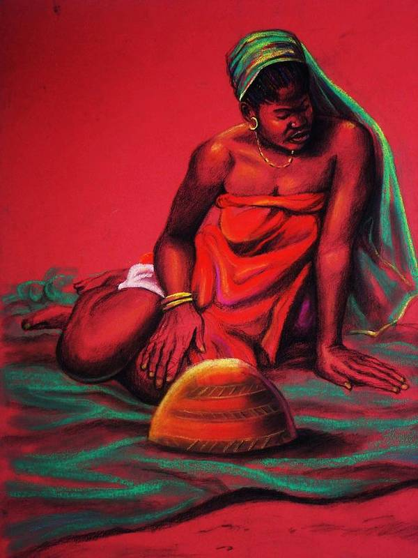 Calabash Poster featuring the painting The Bride by Aderonke ADETUNJI