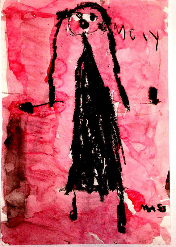 Abstract Poster featuring the mixed media The Bride by Alfred Resteghini