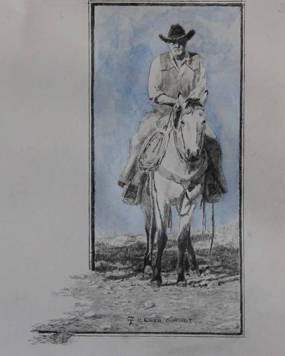 Western Art Poster featuring the drawing The Buckskin Colt by Loren Schmidt