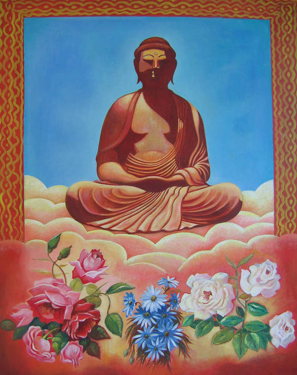 People Poster featuring the painting The Budha by Hiske Tas Bain