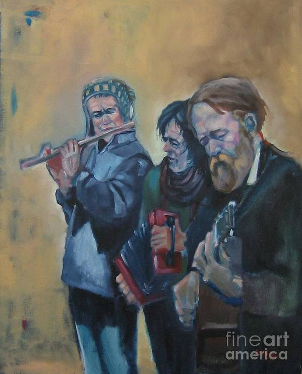 Realism Portrait Figure Celtic Irish Poster featuring the painting The Buskers by Kevin McKrell