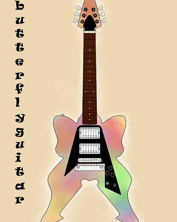 Butterfly Poster featuring the digital art The Butterfly Guitar by Khajohnpan Sauychalad