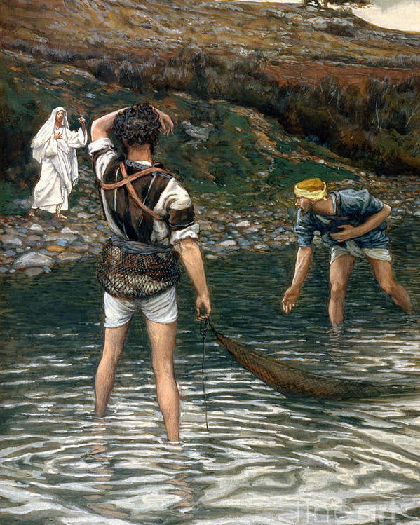 Jesus Poster featuring the painting The Calling Of Saint Peter And Saint Andrew by Tissot