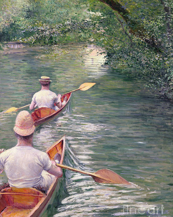 Rowing Poster featuring the painting The Canoes by Gustave Caillebotte