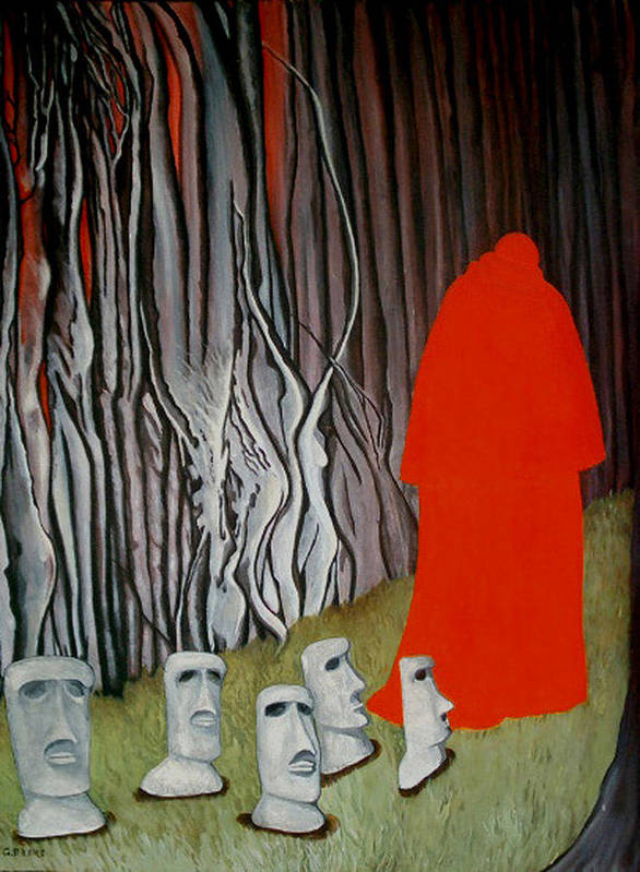 Surreal Poster featuring the painting The Cardinal by Georgette Backs