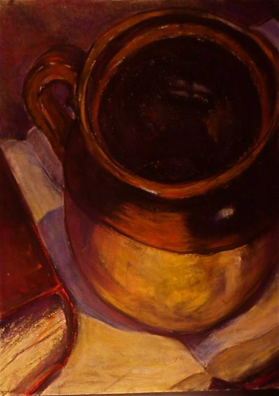 Realistic Still Life Paintings And Cards Fruit Paintings And Cards Bottle Paintings And Cards Teapot Paintings And Cards Flower Paintings And Cards Paintings Poster featuring the pastel The Ceramic Pot by Chris Riley