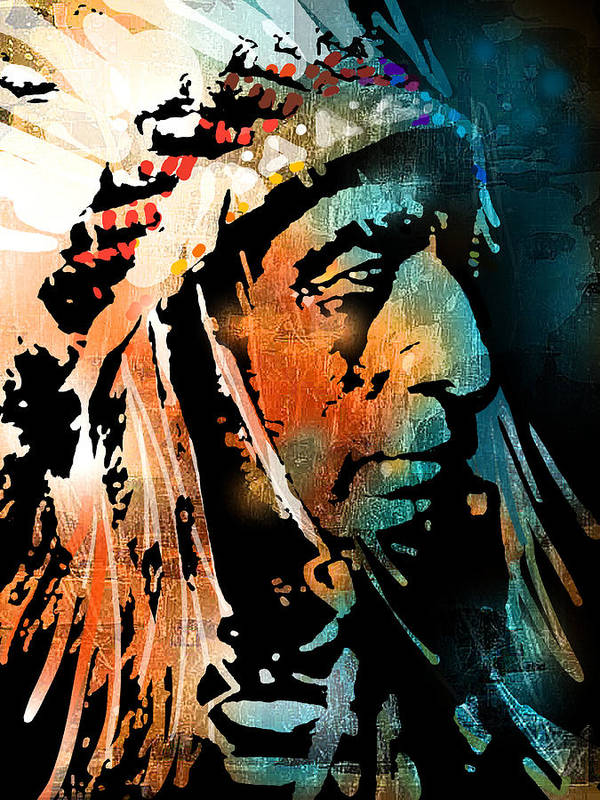 Native Americans Poster featuring the painting The Chief by Paul Sachtleben