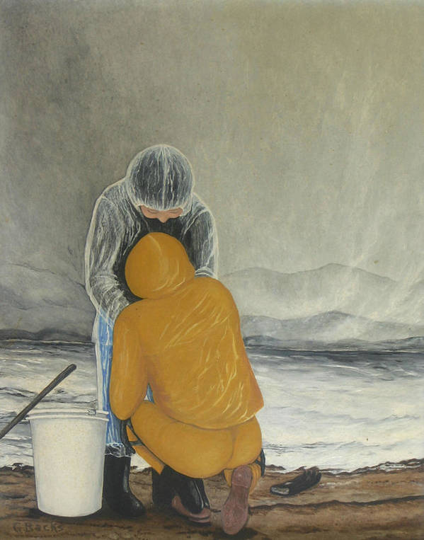Figurative Poster featuring the painting The Clamdigger by Georgette Backs