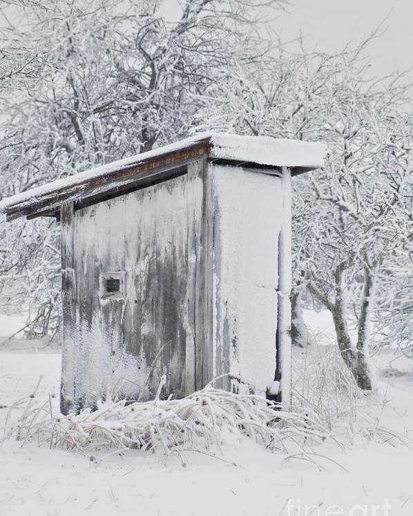 Outhouse Poster featuring the photograph The Coldest Fifty Yard Dash by Benanne Stiens