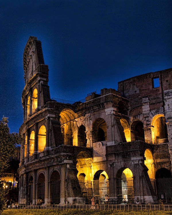 Coleseum Poster featuring the photograph The Coleseum In Rome At Night by David Smith