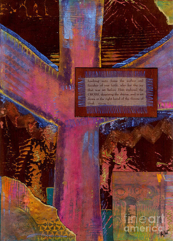 Wood Poster featuring the mixed media The Cross by Angela L Walker