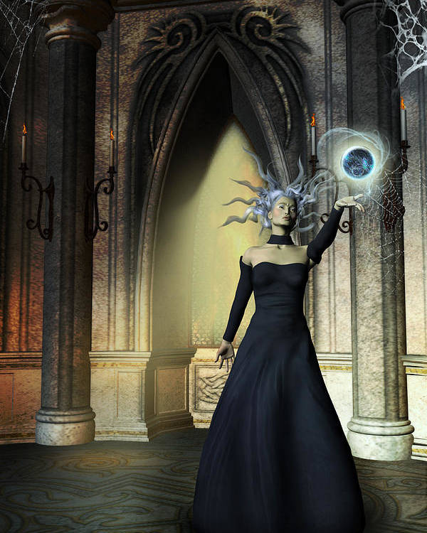 Sorceress Poster featuring the painting The Curse Of The Sorceress by Emma Alvarez