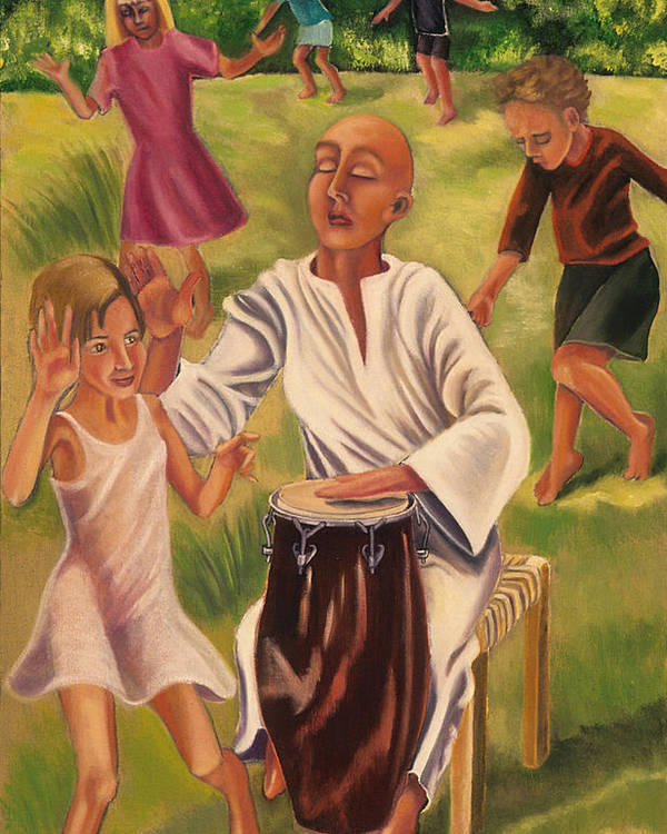 Children Poster featuring the painting The Dance by Gloria Cigolini-DePietro