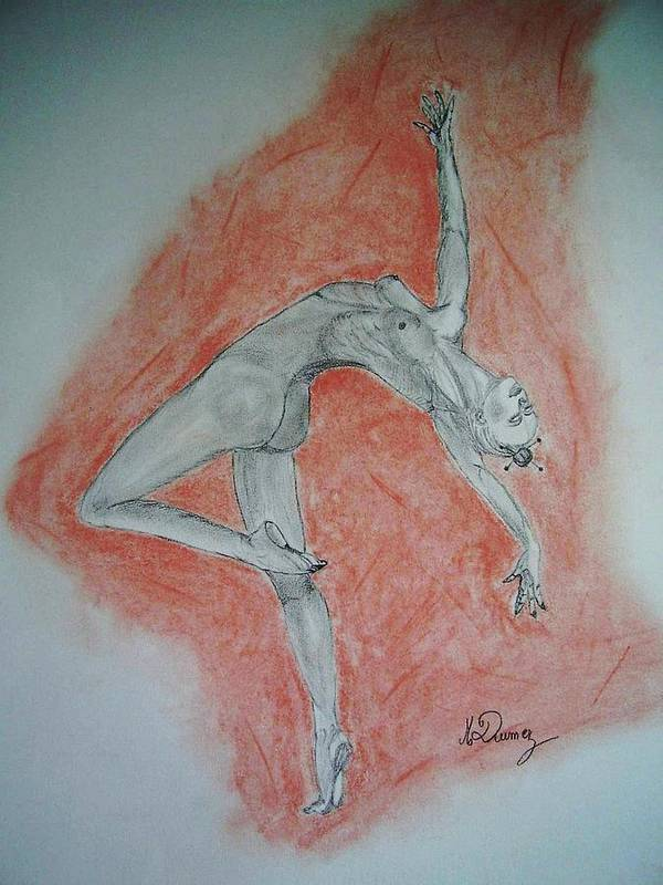 Body Shape Poster featuring the drawing The Dancer by Murielle Hebert