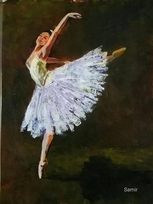 Ballerina Poster featuring the painting The Dancing Ballerina by Samir Patel