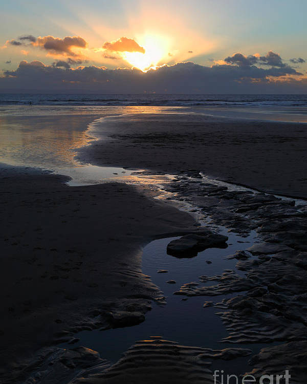 Wales Poster featuring the photograph The Days Last Rays At Dunraven Bay Wales by James Brunker