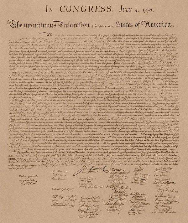 Declaration Of Independence Poster featuring the mixed media The Declaration Of Independence by War Is Hell Store