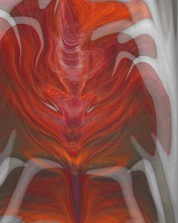 Abstract Poster featuring the digital art The Devil Inside by Linda Sannuti