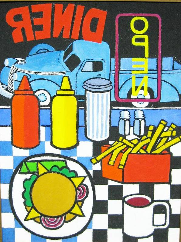 Diner Poster featuring the painting The Diner by Nicholas Martori