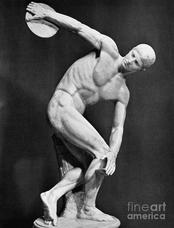 140's Poster featuring the photograph The Discobolus, 450.b.c by Granger