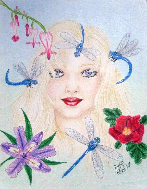 Colored Pencil Poster featuring the drawing The Dragonfly Girl by Scarlett Royal