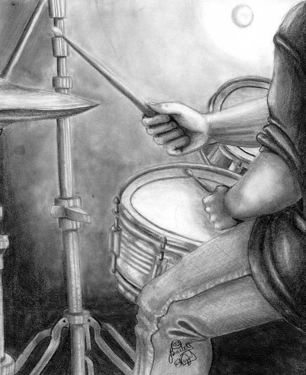 Drummer Poster featuring the drawing The Drummer by Scarlett Royal
