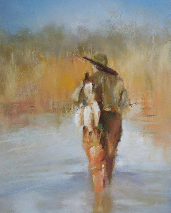 Duck Poster featuring the painting The Duck Hunter by Debbie Anderson