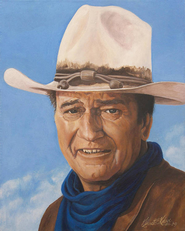 Cowboy Poster featuring the painting The Duke by Kenneth Kelsoe