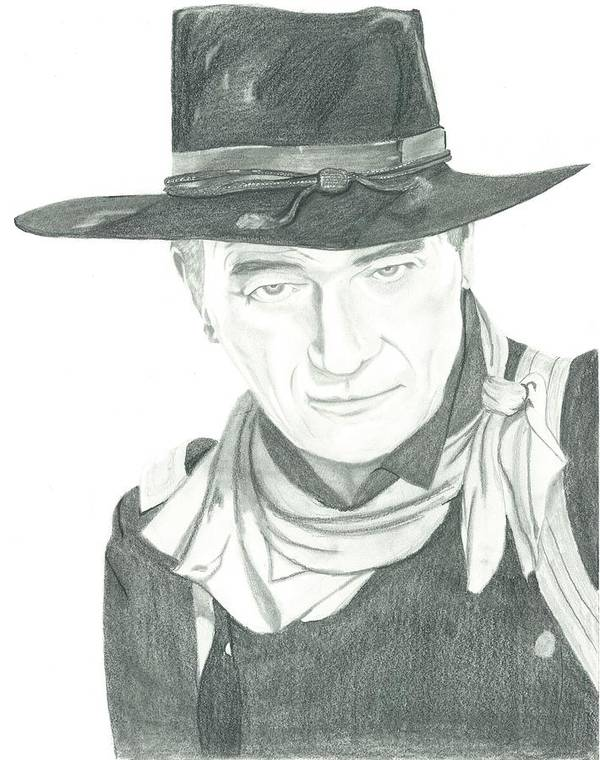 John Wayne Poster featuring the drawing The Duke by Seventh Son