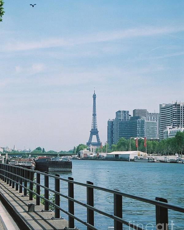 The Eiffel Tower Poster featuring the photograph The Eiffel Tower And The Seine River by Nadine Rippelmeyer