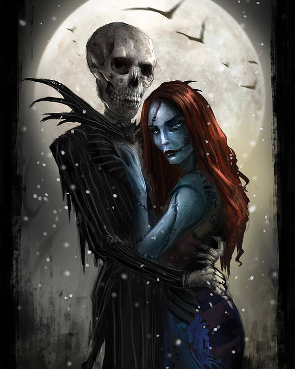 Nightmare Before Christmas Poster featuring the digital art The Embrace V1 by Alex Ruiz