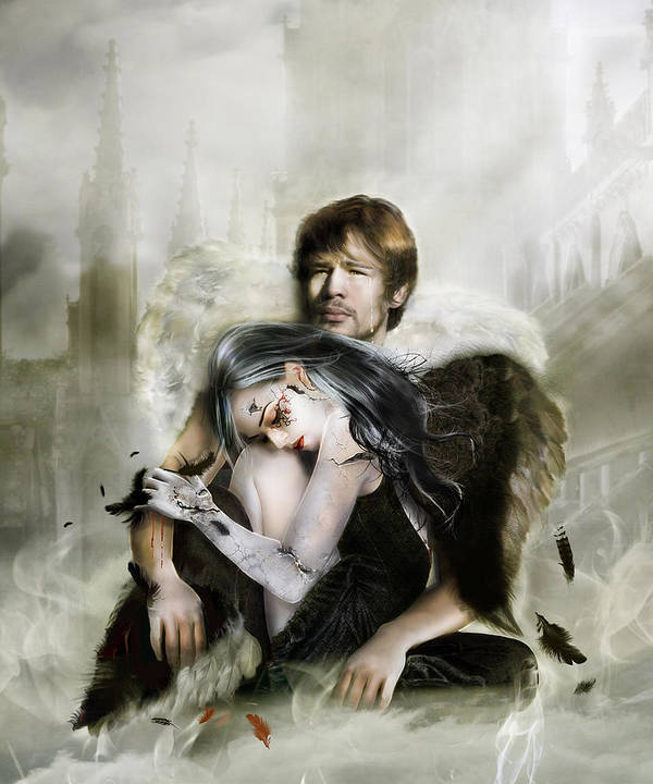 Angel Poster featuring the digital art The End Is Nigh by Mary Hood