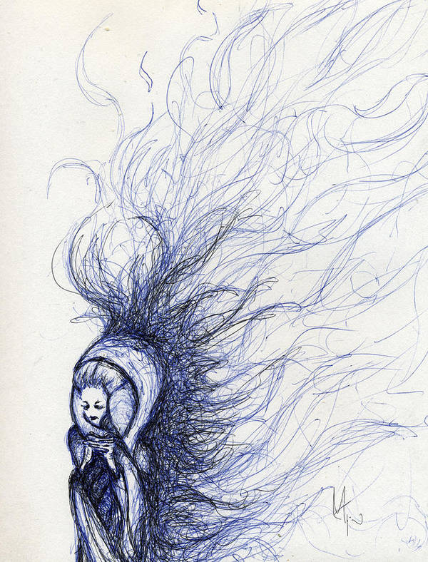 Woman Poster featuring the drawing The End by Mark M Mellon