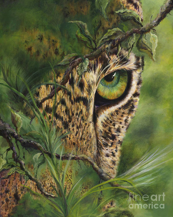 Leopard. Cat Poster featuring the painting The Eye by Myra Goldick