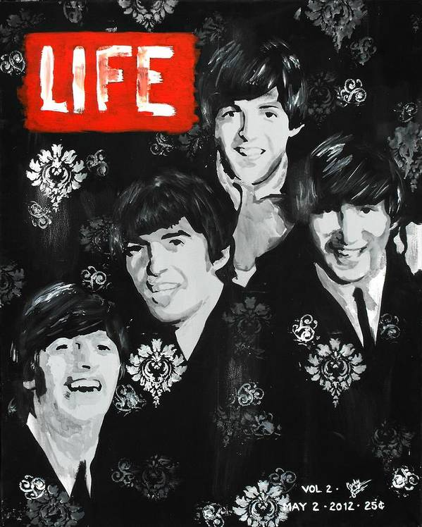The Beatles Poster featuring the painting The Fab Four by Carly Jaye Smith