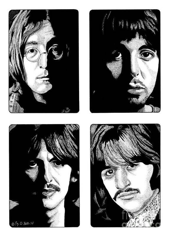 Paul Mccartney Poster featuring the drawing The Fab Four by Cory Still