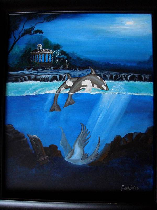 Seascape Poster featuring the painting The Fallen by Glory Fraulein Wolfe