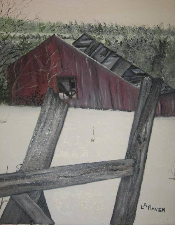 Poster featuring the painting The Falling Down Shed by L A Raven