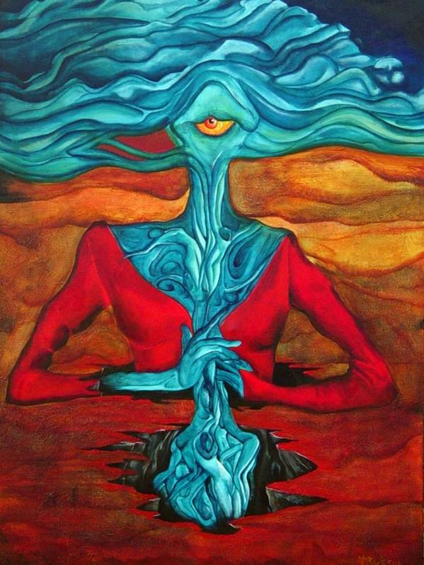 Feast Woman Blue Eye Eat Red Earth Poster featuring the painting The Feast by Veronica Jackson