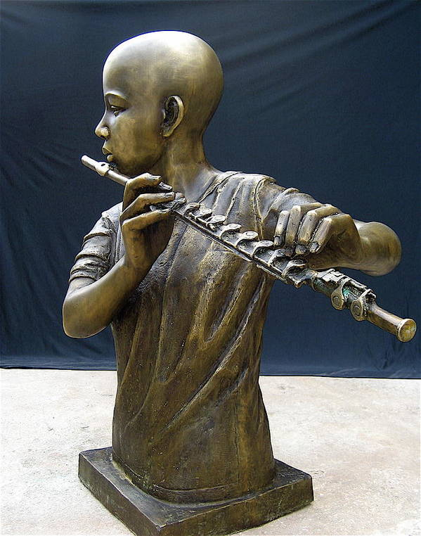 Music Poster featuring the sculpture The Fifer by Curtis James
