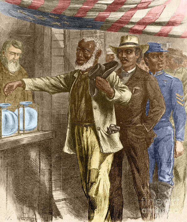 15th Amendment Poster featuring the photograph The First Vote 1867 by Photo Researchers