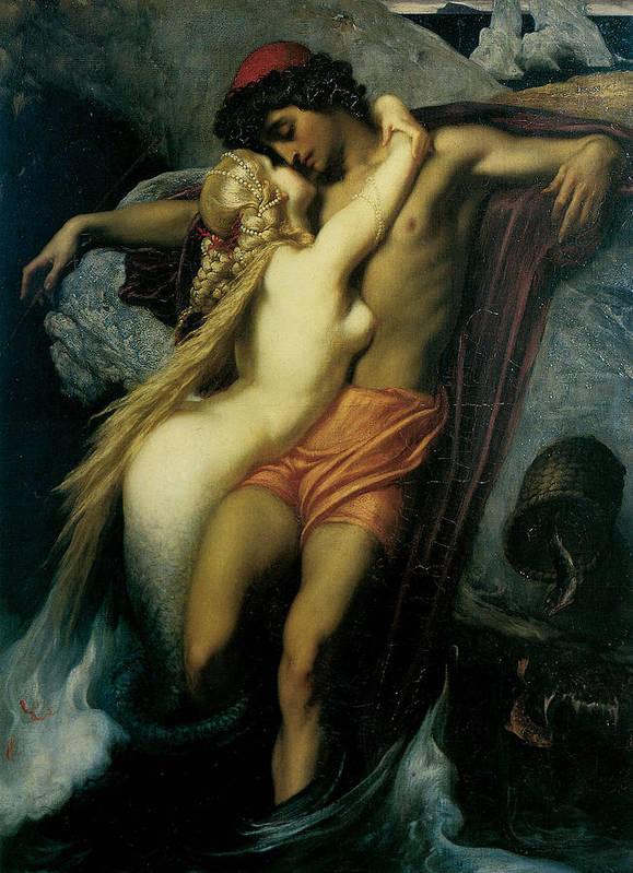 Frederick Leighton Poster featuring the painting The Fisherman And The Syren by Frederick Leighton
